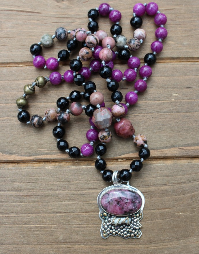 The Warrior Necklace, Rhodonite, Long Beaded Necklace, with Pendant, by