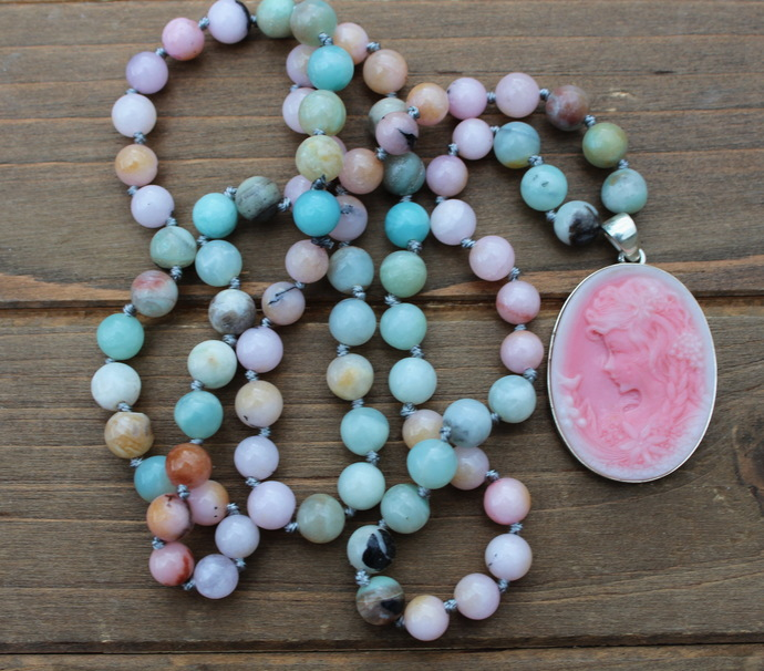 The Joy Necklace, by KnottedUp, Long Beaded Necklace with Cameo Pendant, Pink &