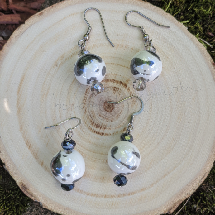 """Cow Print"" Ceramic Earrings"
