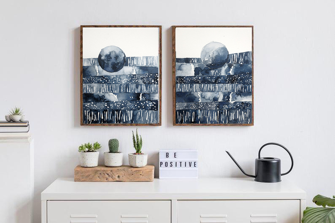 Set of 2, painting on paper, white navy watercolor original , abstract painting