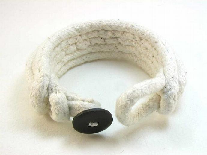 snowdrift cotton cuff bracelet rope bracelet fiber art bracelet modernist style