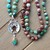 Ground & Balance, Long Beaded Necklace, with pendant, Turquoise, Hand knot