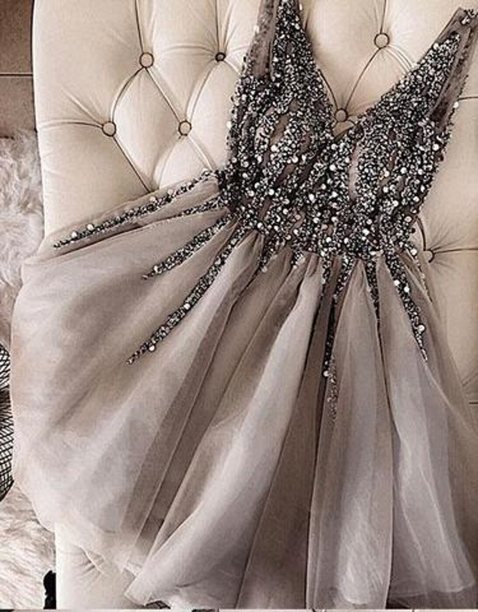 WDG0191,Grey Beading V neck A line Organza Homecoming Dresses,Cocktail