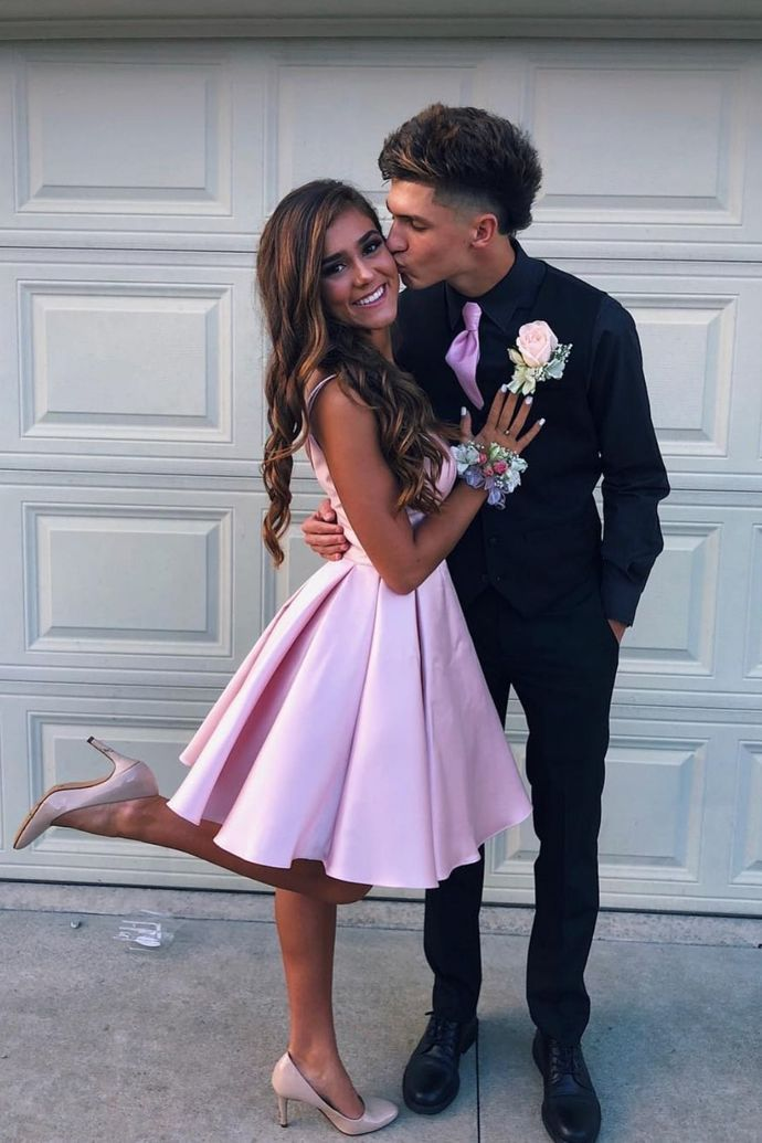 WDG0193,Pink A line Homecoming Dresses,Knee Length Homecoming Dresses