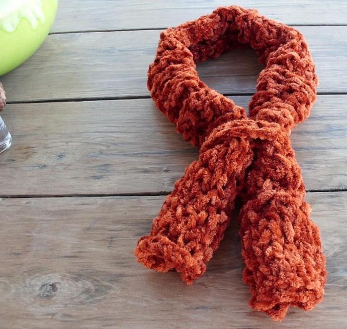 Rust Orange Velour Yarn Neck Warmer Cowl Scarf