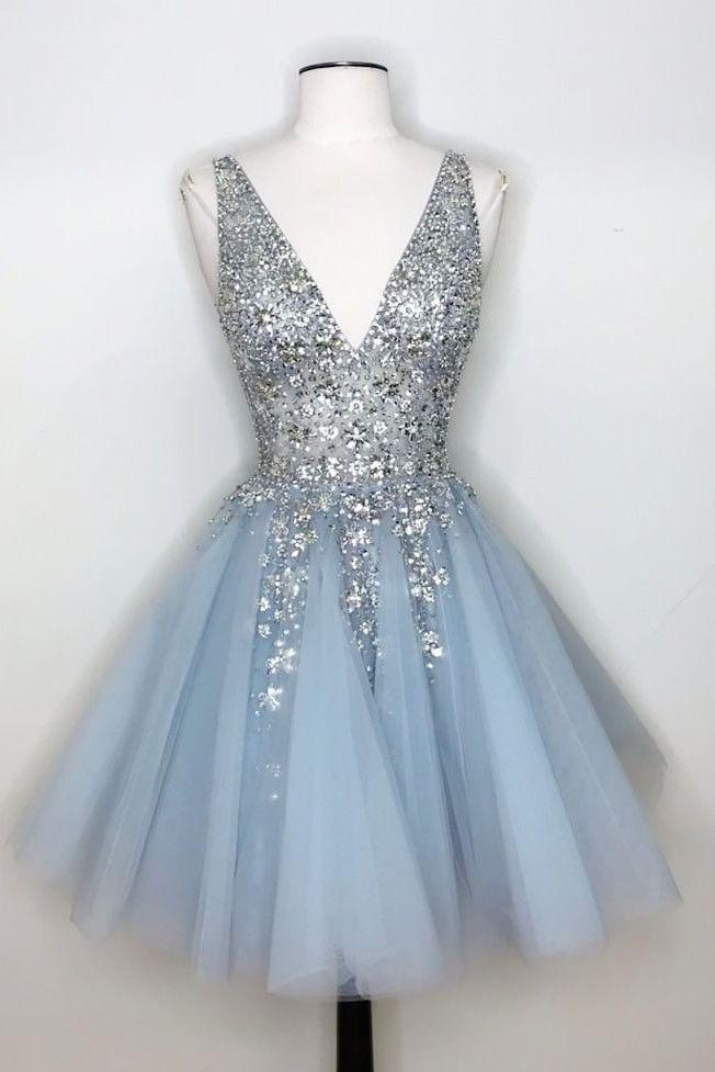 WDG0196,V-Neck Light Sky Blue Homecoming Dress with Sequins