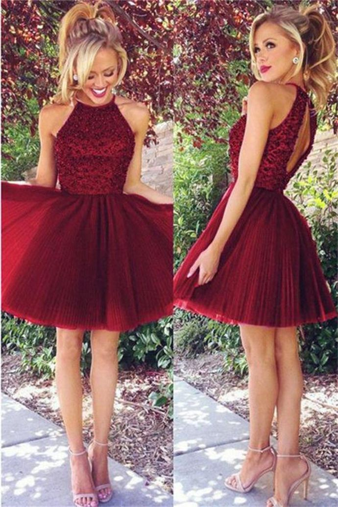 WDG0200,Elegant Halter Burgundy Appliques Prom Dress, Tulle Homecoming