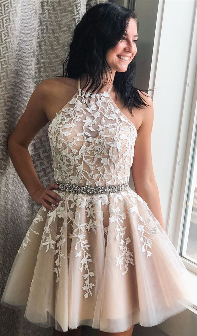 WDG0202,Halter Champagne Short Homecoming Party Dresses witth Appliques Beading
