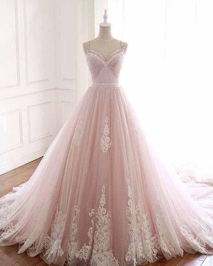 WDG0203,Pink tulle sweatheart neck long A-line formal prom dress with lace