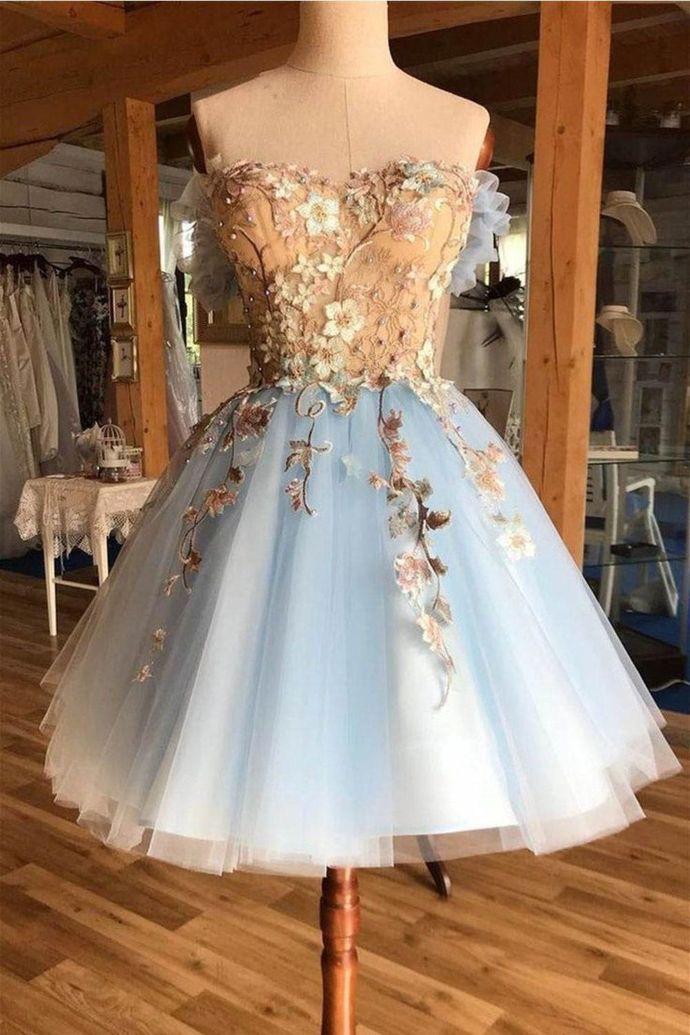 WDG0205,Light Blue Off the Shoulder Flowers Applique Homecoming Dresses