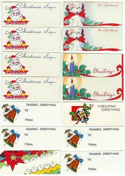 Vintage Christmas Gift Tags 1960s Lot 14 Santa Puppy Bells Candle Poinsettia