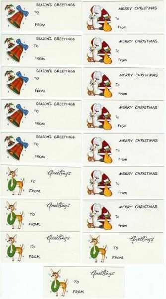 Vintage Christmas Gift Tags Santa Reindeer Bells 1960s Lot of 17