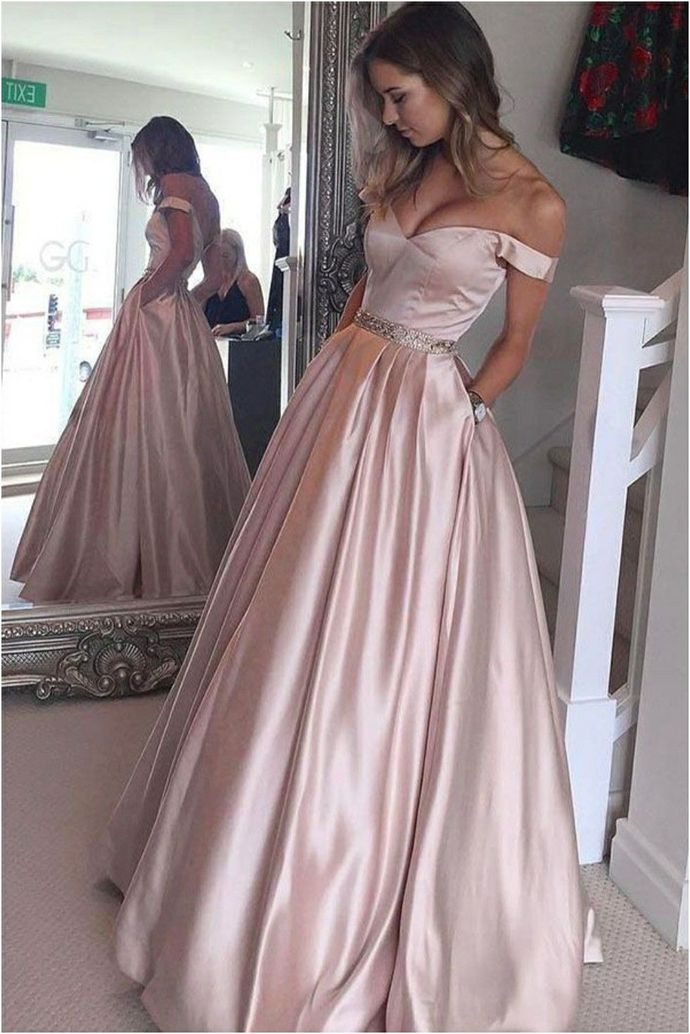 WDG0207,A-line Off the Shoulder Floor Length Pearl Pink Prom Dress with Beading