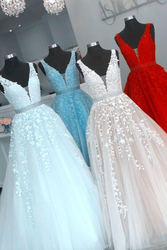 WDG0208,Chic A line Prom Dresses,Beaded V neck Evening Dresses with Applique