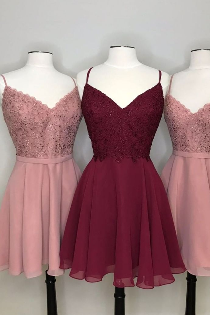 WDG0209,Simple chiffon short prom hoco party dresses with appliques, pink short