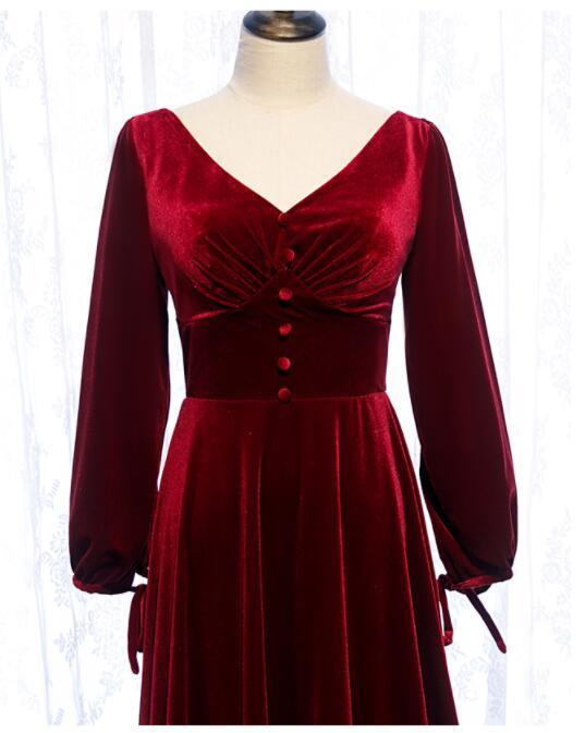 Beautiful Burgundy Long Sleeves Formal Dress, Velvet Bridesmaid Dress
