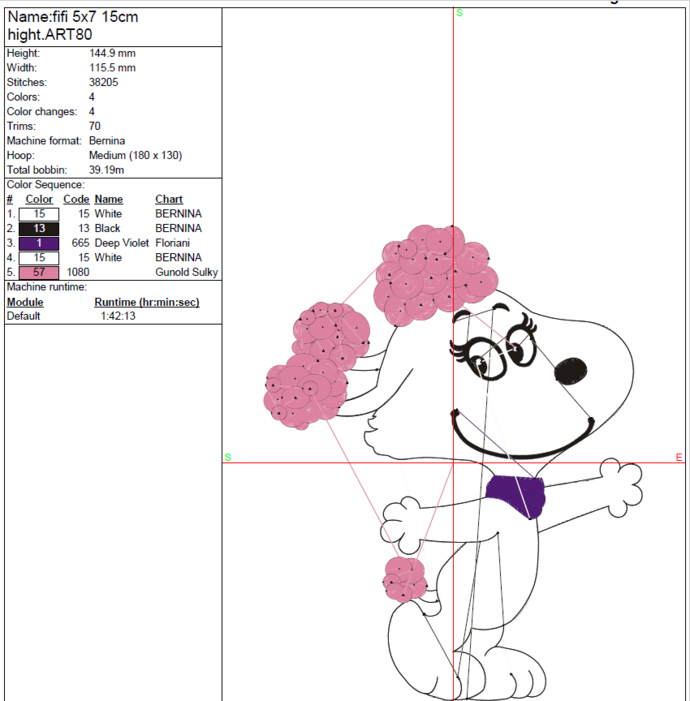 Fifi Snoopy Machine Embroidery Design Pes Digital Instant Download Pattern In