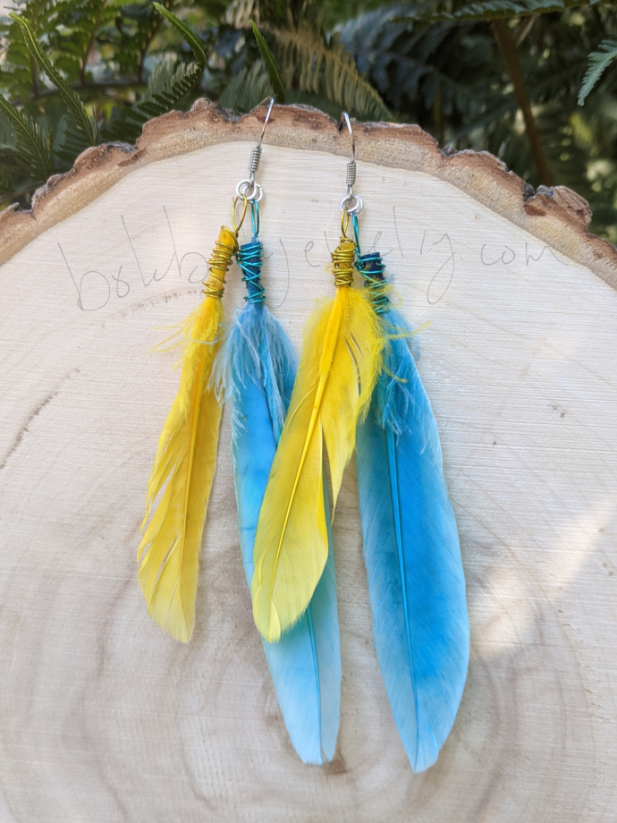 Handmade Colorful, Long Feather Earrings
