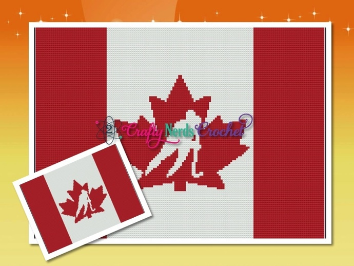 Canada Hockey Flag Solid Pattern Graph With Single Crochet Written
