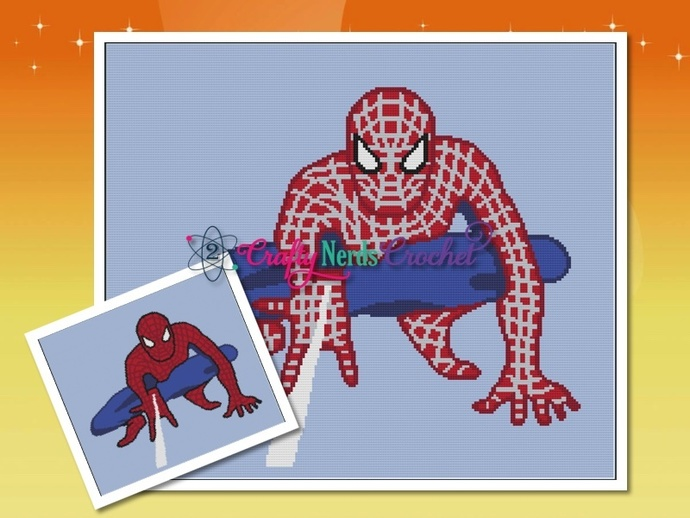 Spiderman Throw Graph With Single Crochet Written
