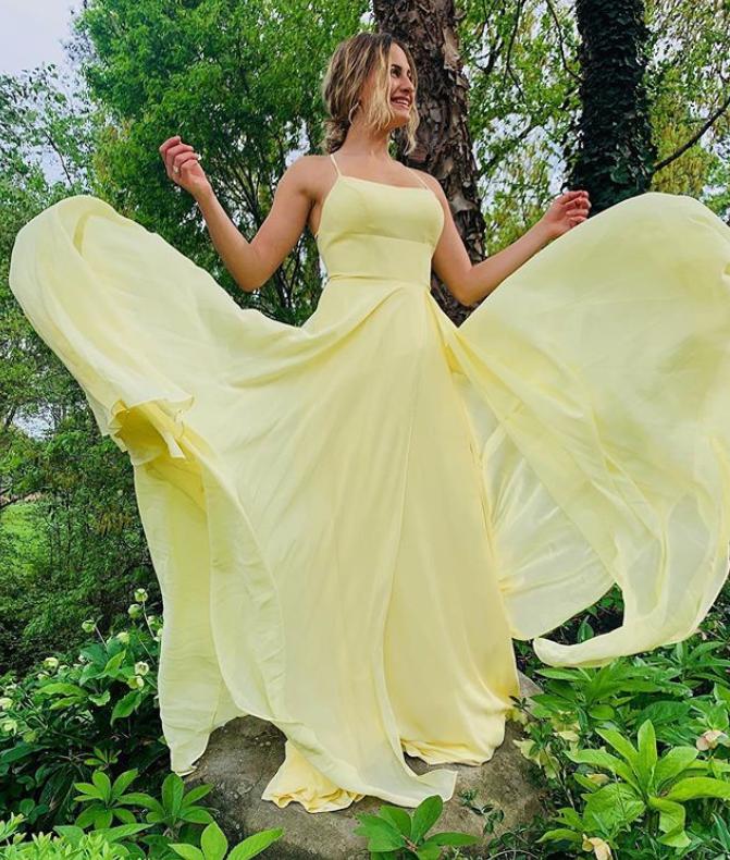 Yellow Prom Dress,A-Line Prom Gown,Chiffon Evening Dress,Spaghetti Straps Prom