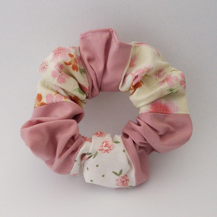 Scrunchie - Dark Pink and Floral Patchwork Upcycled Fabric