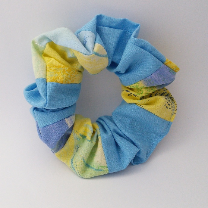 Scrunchie - Blue and Yellow Patchwork Upcycled Fabric