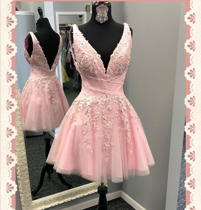 Princess Pink Short A-line Homecoming Dress