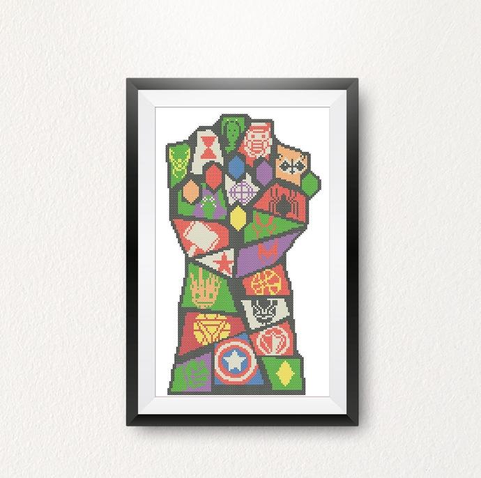 #363 Infinity gauntlet Superhero logo Modern Cross Stitch Pattern, logo