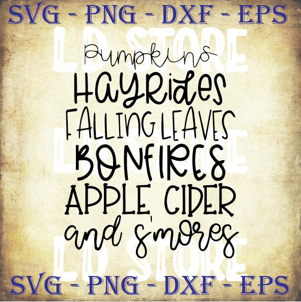 Pumpkins Hayrides Falling Leaves Bonfires Apple By Ldstoresvg On