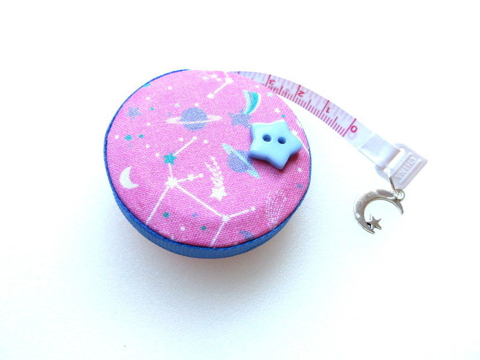 Tape Measure Pink and BlueNight Sky Small Retractable Tape Measure