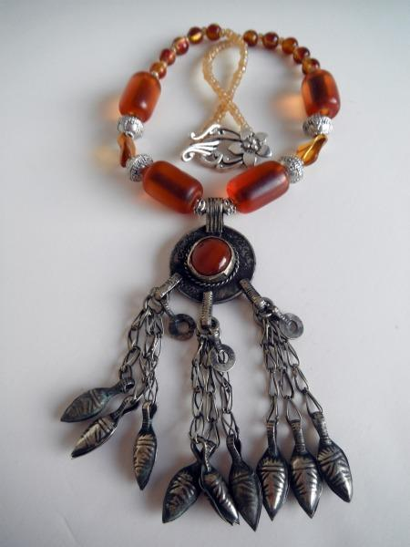 Afghanistan Coin Pendent  & Amber Necklace