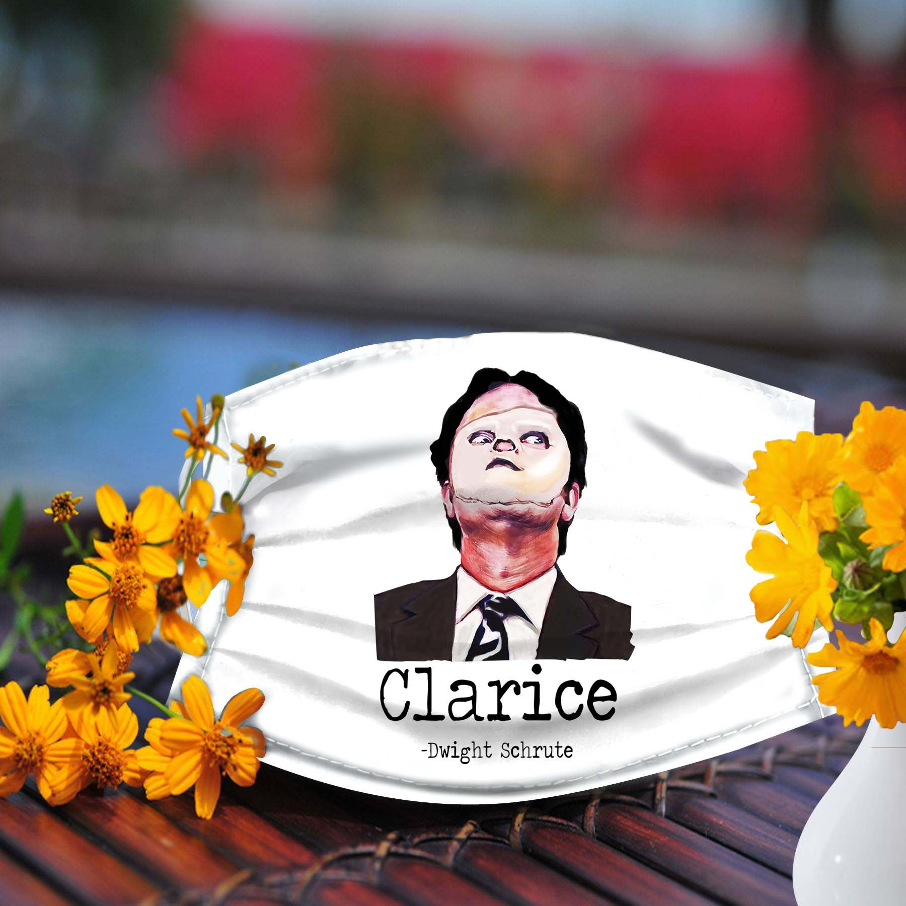 Clarice Dwight Schrute face mask, Reusable Face Mask, Machine Washable, With