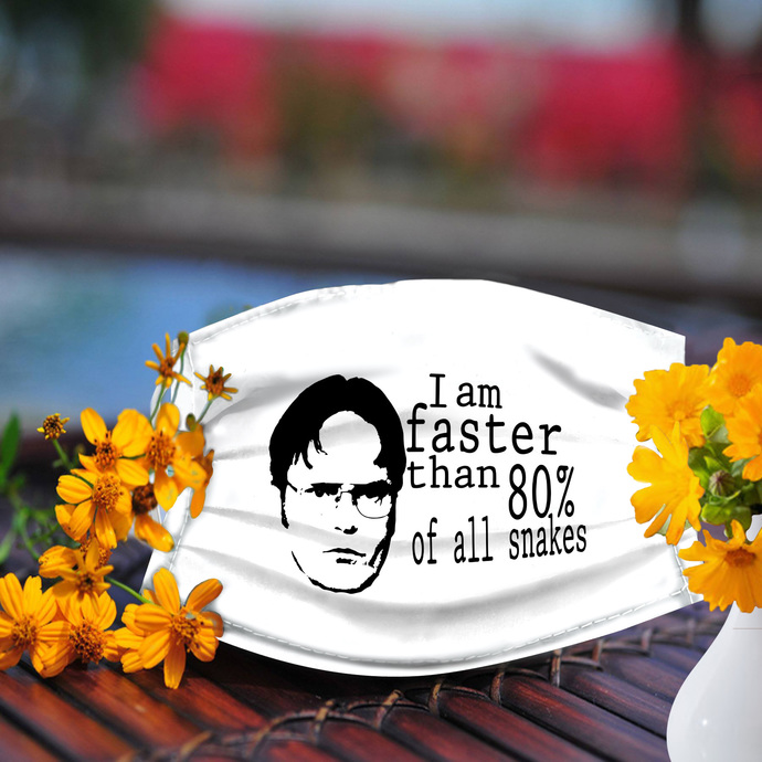 I am faster than 80% of all snakes Schrute face mask, Reusable Face Mask,