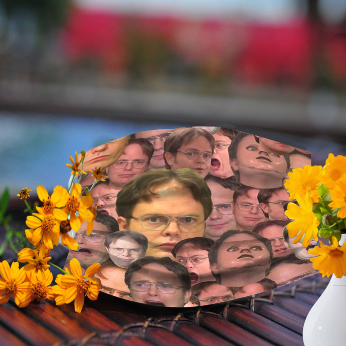 Many faces of Dwight Schrute face mask, Made In USA
