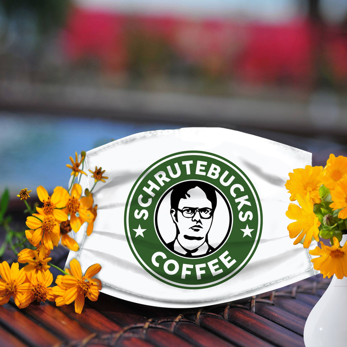 Schrutebucks coffee face mask, Reusable Face Mask, Machine Washable, With Filter