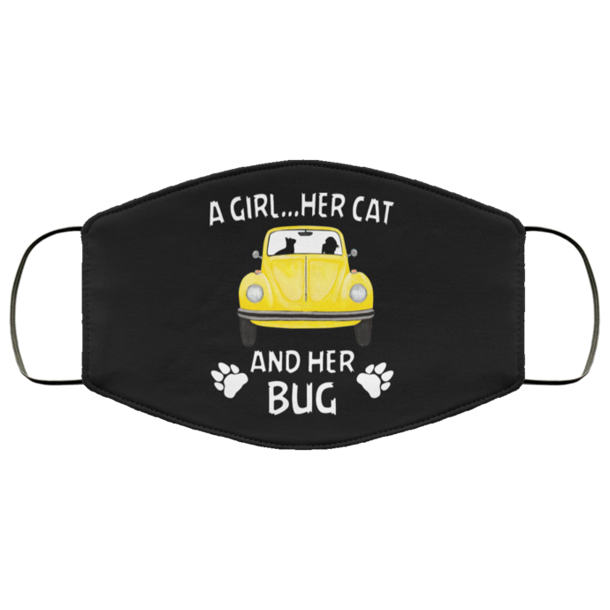 A girl...Her cat and her bug face mask, Machine Washable, With Filter Pocket DTG