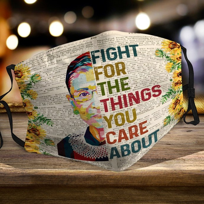RBG fight for things you care about sunflower face mask, Machine Washable, With