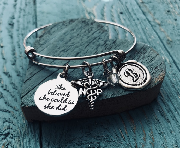 Silver Bracelet, Charm Bracelet, Nursing Graduation, Nurse Gift, Nurse, Medical,