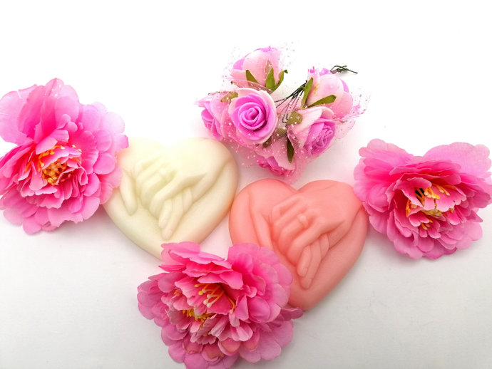 1pc. Wedding Soap, Heart Soap, Holding hands soap over 30 scents