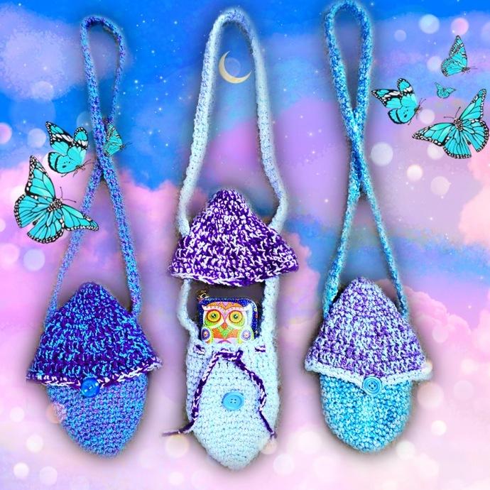 Crochet Pastel Mini Mushroom Bags