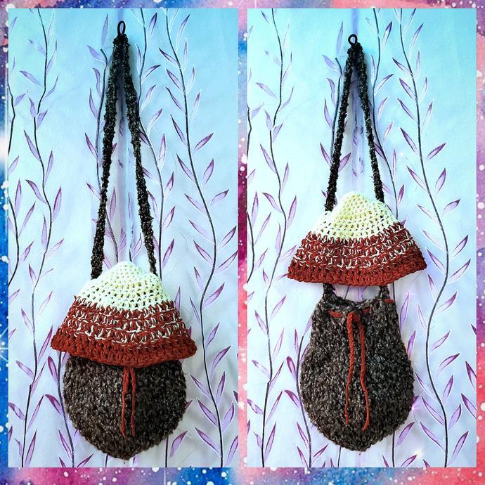 Orange/Brown Cap Mushroom Over The Shoulder or Backpack Bag