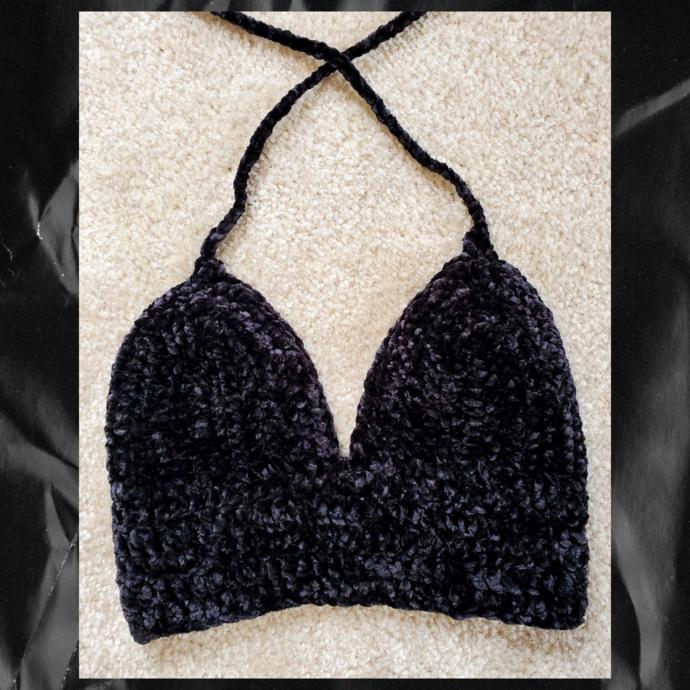Velvet Black Crochet Top