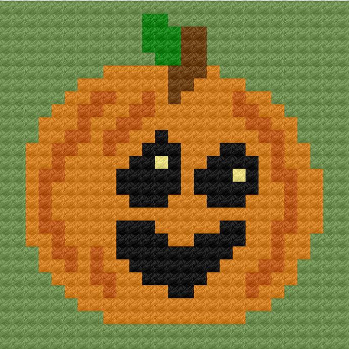 Jack-o-Lantern Pumpkin C2C Crochet Pattern Panel Graph Color Block Directions