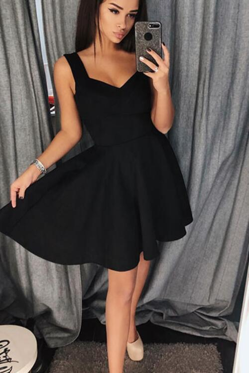 Simple Sweetheart Short Black Homecoming Dress, Cute Black Party Dress