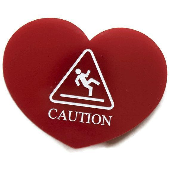 Caution Wet Floor Heart Brooch,Plexiglass Pin,Lasercut Acrylic,Gifts Under 25