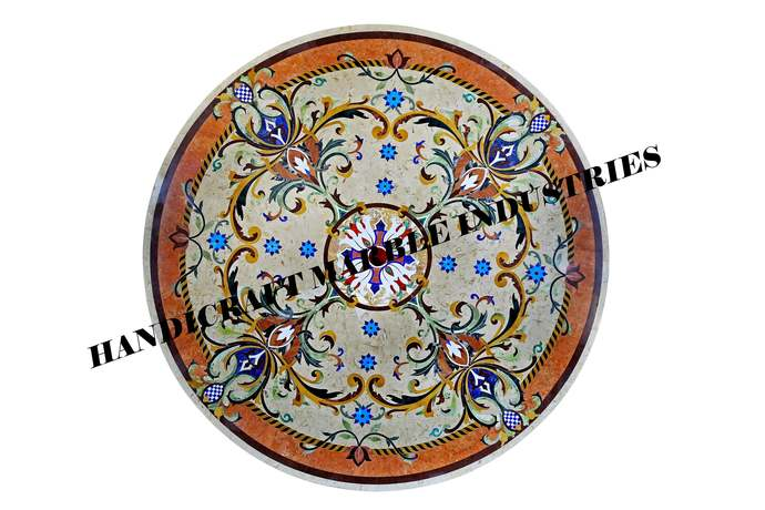 """48"""" X 48"""" Inch Marble Inlay Dining Table, Stone Inlay Dining Table, Table Top"""