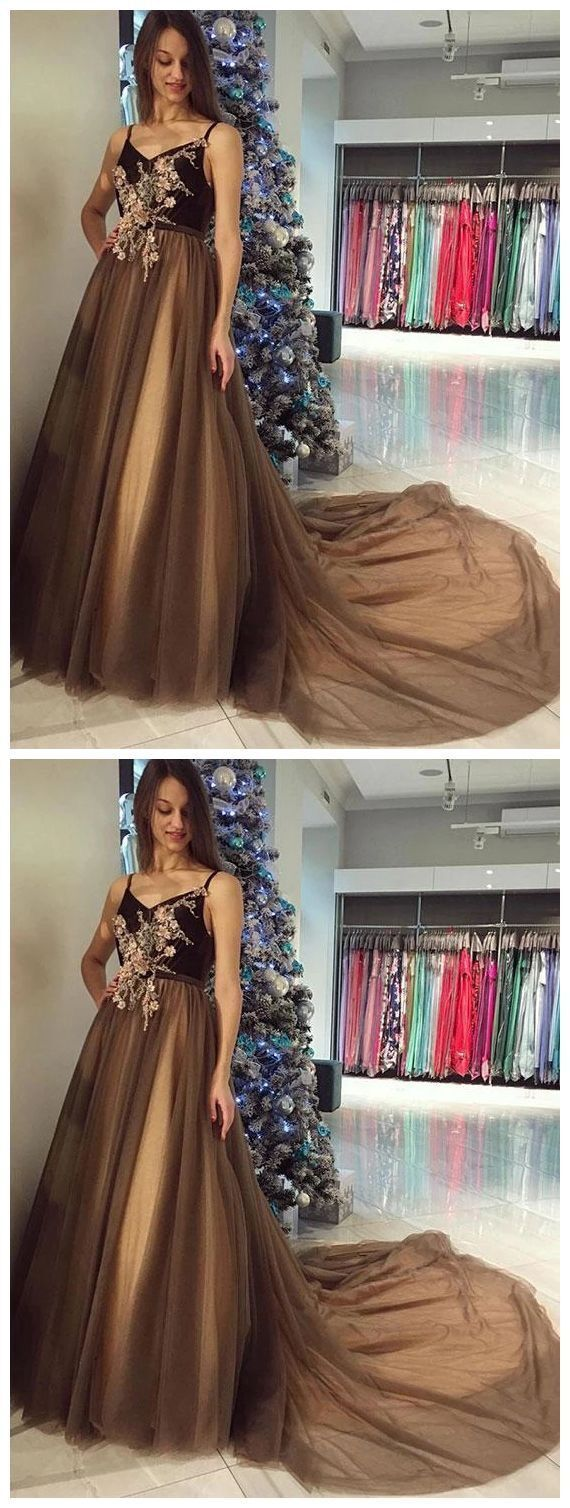 Charming Spaghetti Straps Tulle Long Prom Dress, Formal Evening Dresses H2756