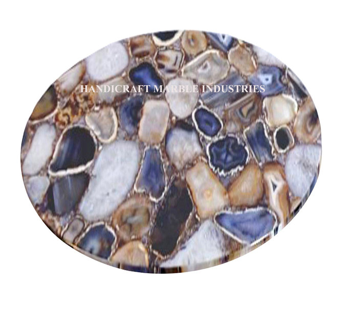12 Agate Table Top Round Coffee By Handicraft Marble Shop On Zibbet