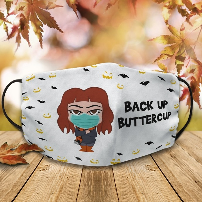 Back up buttercup face mask, Machine Washable, With Filter Pocket DTG Printed,